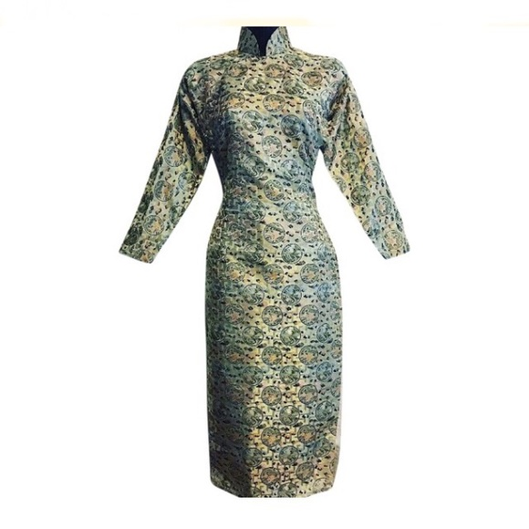 Vintage Dresses & Skirts - Vintage Geisha Fitted Midi Dress